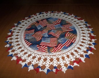 Crocheted Doily Patriotic 4th of July  Memorial Day Flags Fireworks Fabric Center Doilies Crocheted Edge Table Topper Gift Handmade