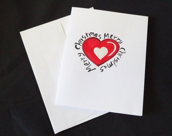 Christmas card, HEART card, hand painted card, holiday card, blank card, painted card, free shipping