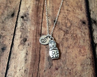 Russian doll initial necklace - matryoshka doll necklace, nesting doll necklace, Russian doll jewelry, silver matryoshka necklace