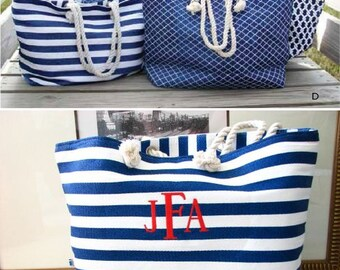 Monogrammed Beach Tote Navy and White
