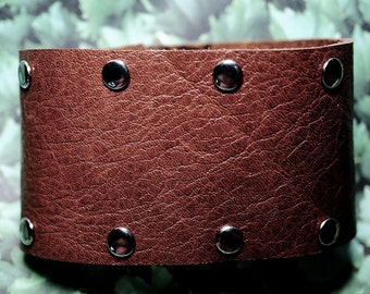 Mens Leather Riveted Bracelet. Brown Leather Bracelet, Brown Leather with Silver Rivets