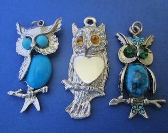 3 Vintage Owl Pendants