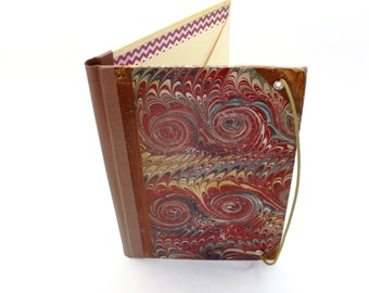 Refillable Journal Cover, Vintage Marbled Book Cover