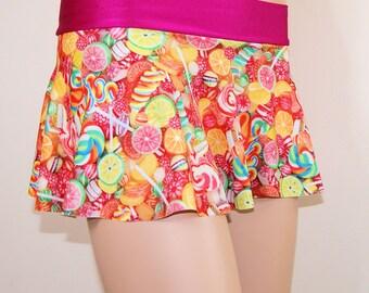 Neon Pink Orange Candy Fruit Circle Twirl Skirt Adult All Sizes- MTCoffinz