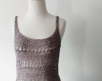 Hand Knit Lace Cotton Coverup Top - Hip Length Tank Top Sleeveless Strappy Top Light Grey Textured Knit Summer Layering Boho Beachwear