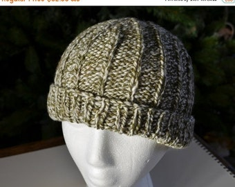 Prefall Sale Hallgrímur 2 in Olive, Sage, White, and Cream Marled Yarn - Hand Knit Hat in Handspun Merino, Silk, Bamboo - Traditional Men's