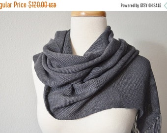 Sale Handwoven BAMBOO Scarf for Women. Scarf with Tiny Bells. Women's Spring Accessories, Made to Order, Custom Color, Graphite Grey. Soft,