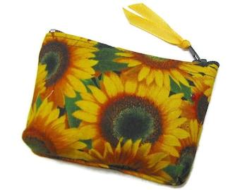 Coin purse,  Small coin purse, Small zippered coin purse, Zipper coin purse, Wallet, Sunflowers