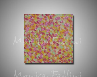 Pink Poppies original painting on canvas modern art soft colors textured by artist Fallini