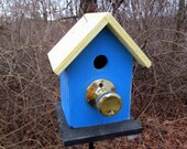 Birdhouse royal Blue Door Knob Fully Functional
