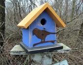 Birdhouse Functional Primitive Blue Yellow Rusty Bird
