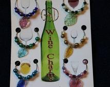 Set of 6 Jewel Leaves WINE CHARMS