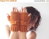 CLEARANCE 50% SALE Orange Bow Fingerless Knitting Gloves -  Mittens -  by Afra
