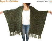 WINTER SALE Chuny Green Boucle & Wool Poncho with Fringe by Afra
