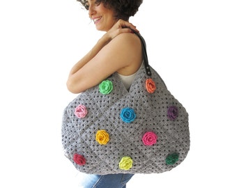 Gray Granny Sguare Afghan Croched Handbag With Leader Handles and Crochet Flowers