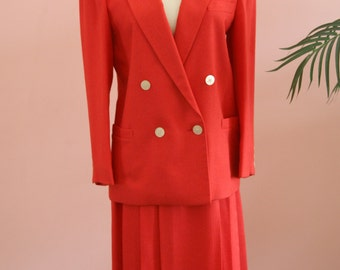 Red Linen Two-Piece Suit, Double Breasted Red Suit, Work Attire, Ladies Red Suit, Size 6P, Petite Red Suit, Linen Suit