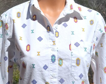 vintage 80s women's blouse SOUTHWESTERN native american boho button down shirt top Medium Small