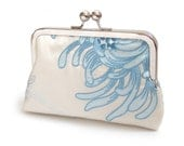 Clutch bag, medium purse with chain handle, embroidered ivory silk, something blue, bridal clutch bag, BLUE Chrysanthemum