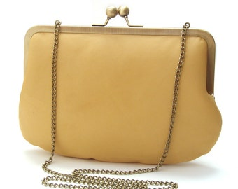 Yellow leather clutch bag, leather purse, silk-lined, handbag with chain handle, sunny