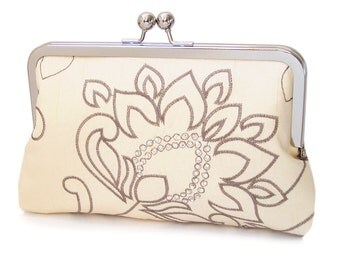 Bridal clutch bag, silk-lined purse, wedding accessory, bridesmaid gift, Sparkle Belle