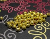 END of Year SALE 25 Pack Gold Plated Stardust Textured 4mm Round Beads Free Domestic Shipping