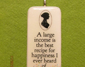 Jane Austen Book Lovers domino pendant quotes for necklace