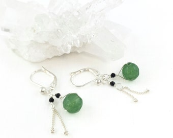 Jade Earrings Silver, Dainty Drop Earrings, Dainty Silver Earrings, Multi-Gemstone Earrings, Precious Gem Earrings, Jade Gemstone