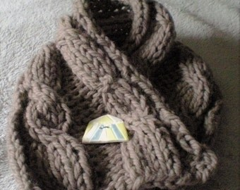 Hand Knitted Pure Wool Chunky Cable Neckwarmer with Porcelain Circus Button Rowan Yarn Taupe