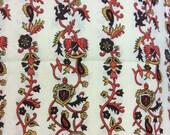 Vintage 1960s Floral/Crest Print Cotton Fabric - 1 1/4 Yards - Fabric Yardage /Woven Fabric /Cotton Fabric /1960s Fabric /1960s Cotton/60s