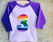 Rainbow Birthday Number Shirt for Boys or Girls - Sizes to fit Toddlers and Big Kids - You Choose Number - Great Gift or Party Outfit