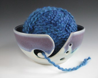 Ceramic Pottery Knitting Bowl Yarn Bowl in Mulberry Purple and Turquoise
