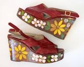 Vintage 60s 70s Red Leather Floral Painted Platform Sandals