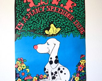 SPRING SALE/ 20% off Vintage 1970 Love is a Many Splendor Thing Dalmation Dog and Lovebirds in a Tree Psychedelic Day-Glo Fuzzy Black Light