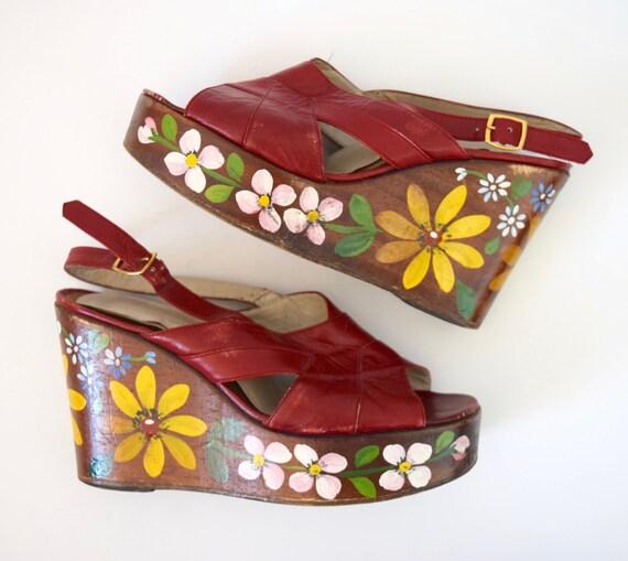 SPRING SALE/ 20% off Vintage 60s 70s Red Leather Floral Painted Platform Sandals