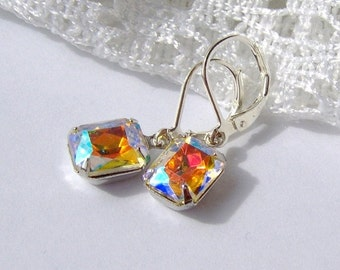 Aurora Borealis Rhinestone earrings / rainbow rhinestone / gift for her / leverback / Hollywood glam / estate style / vintage style / bridal