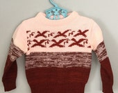 80s Pink Flying Bird Pullover Sweater Size 18 - 24 months