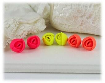 Tiny Neon Flower Stud Earrings - Fluorescent Jewelry