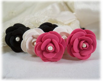 Camellia Earrings Stud or Clip On - Camellia Jewelry, Camellia Flower, Japanese Rose