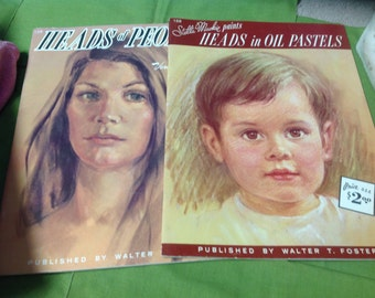 Two vintage books- Heads in oil pastels, Heads of people---Free shipping