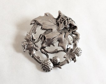 London plane tree brooch / pin Art nouveau style silver plated