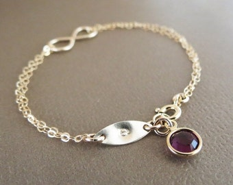 TWO DAY SALE Personalized Infinity Bracelet & Birthstone,Gold Infinity Bracelet,Gift Idea for Her,Initial Bracelet,Bridesmaids Jewelry,Frien