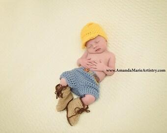 Construction set - Hard hat - pants - work boots - newborn photo prop - Utility Worker - Lineman - Baby Costume - Character Set
