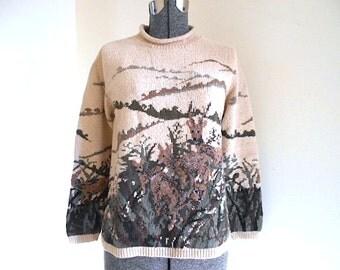 Hand knit deer pullover sweater, cotton, Ralph Lauren - women sz M Medium