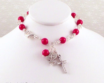 Holy Spirit Rosary Bracelet Wire Wrapped Red Czech Glass by Unbreakable Rosaries