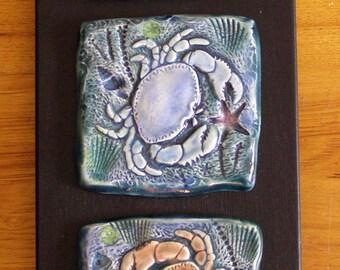 Ceramic crab tiles wall hanging