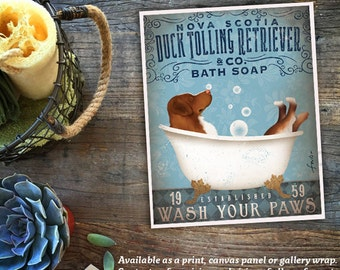 Nova Scotia Duck Tolling Retriever dog  bath soap Company vintage style artwork by Stephen Fowler Giclee Signed Print