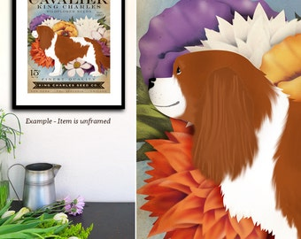 Cavalier King Charles ruby dog Seed Company Wildflowers vintage style seed packet artwork by Fowler Signed UNFRAMED Print