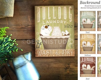 English Bulldog dog Laundry Company basket illustration graphic art on canvas by stephen fowler
