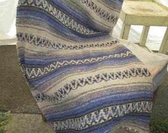 70s vintage Mexican Serape Blue stripe wool Vintage Black and gray Serape festival boho 70s hippie serape blanket