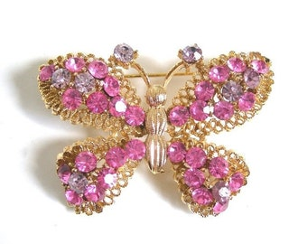 Butterfly Brooch, Rhinestones, Figural Insect, Vintage circa 1970, Pink and Lavender Stones in Goldtone Setting Vintage Costume Jewelry